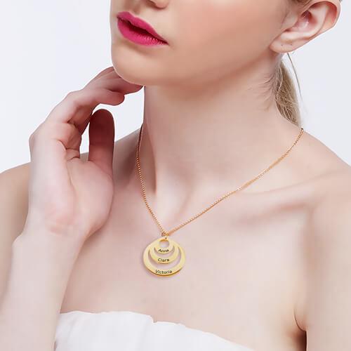 18 karat guldbelagt Triple-CirkelHalskæde